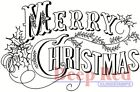 Deep Red Stamps Vintage Merry Christmas Rubber Cling Stamp