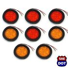 "4"" Round 4 Red & 4 Amber 10 LED Stop Turn Tail Light Flush Mount Truck Trailer"