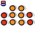 "4"" Round 4 Red & 6 Amber 10 LED Stop Turn Tail Light Flush Mount Truck Trailer"