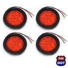"4"" Round (4) Red 10 LED Stop Turn Tail Light Flush Mount Truck Trailer"