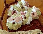 Five Handcrafted Primitive Quilted Flower ornie's/tuck's