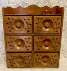 Vintage Wooden Spice Cabinet Hanging Chest Hand Painted 6 Drawer Apothecary