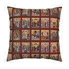 Nativity Orthodox Byzantine Throw Pillow Cover w Optional Insert by Roostery