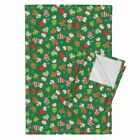 Ditsy Mice Mittens Chritsmas Linen Cotton Tea Towels by Roostery Set of 2