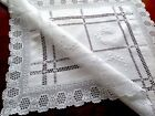 VINTAGE HAND EMBROIDERED White Cotton Crochet Edge Table Centre Cloth 26x20 Inch