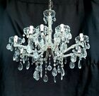Vintage LARGE Italian Maria Theresa Crystal Prisms Chandelier bobeches 12 Arms
