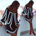 Womens BOHO Loose Long Sleeve Floral Party Summer Beach Sundress Short Dress USA