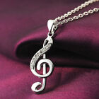 HK Elegant Rhinestone Inlaid Silver Plated Musical Note Pendant Necklace Chain