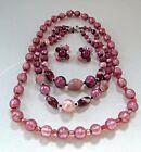 2 Vintage Pink Art Glass Bead Necklace Necklaces  Clip On Earrings 172 Grams