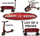 VTG CLASSIC RADIO FLYER MINI METAL TOY PULL  RED 1 TRICYCLE,1 SCOOTER, 2 WAGONS