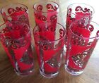 Vintage Drinking Glasses! Red And Gold Design! Set Of Six!