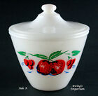 Fire King Apples and Cherries Grease Jar /w Lid Vintage