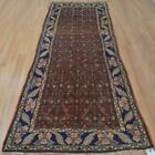 3'4x9'1 Authentic Semi Antique Persian Tribal Handmade Oriental Wool Runner Rug