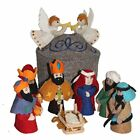 Silk Road Bazaar Artisan Made Felt Christmas Grey Yurt Nativity Baby Jesus Set