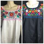 WOMENS PEASANT EMBROIDERED MEXICAN HANDMADE BLOUSE WHITE OR BLACK S M L XL XXL