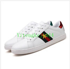 Womens White Running Flat Shoes Green Red Leather Bee Embroidered Sneakers US 9