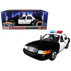 2001 Ford Crown Victoria Police Car Plain Black  White with Flashing Light Bar