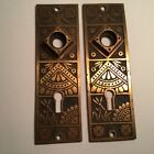ANTIQUE SOLID BRASS VICTORIAN EASTLAKE DESIGN DOOR KNOB BACK PLATES FANCY PAIR