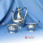 Art Nouveau Three Piece Coffee Set Hammered International Sterling Silver