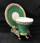 Vintage Aynsley Tea Cup and Saucer C880 Green Gold w Display Stand