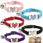 Puppy Elastic Crystal Dog Collar Velvet Pet Necklacce Bell Heart Shape