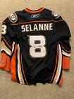 Teemu Selanne Anaheim Ducks Large SIGNED Reebok Authentic 3rd Jersey
