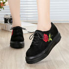 New Womens Fashion Rose Flower Casual Lace Up Leisure Sneakers Trainer Shoes