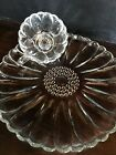 Rare Vintage Hazel Atlas clear Glass Daisy Luncheon Set (10 plates, 12 cups)