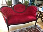 Vintage Victorian Cameo Back Sofa, good condition, tufted red velvet upholstry