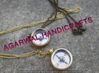 lot of 2 Brass Nacklace Compass Gift for Men & women, Locket Compass with Chain
