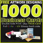 1000 Business Cards Full Color 2 Side Printing UV Coated Free Design Shipping