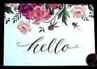 Papyrus Pink Roses Flowers Buds Leaves Hello Small Blank Note Card NEW