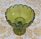 Green Carnival Glass Pedistal Candy Dish. Scalloped, teardrop