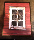 Rustic primitive red 9x11 wooden window floral white pip berries decor wood sign
