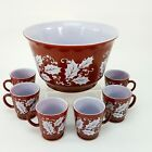 Hazel Atlas Holly Berry Red White Milk Glass Holiday Punch Bowl