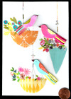 PAPYRUS Beautiful Birds Hanging Flowers GLITTERED Small 3 D Blank Note Card NEW