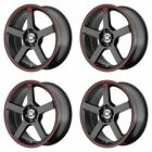 4x Motegi 17x7 MR116 Wheels Matte Black Red Stripe 4x45 4x100 4x1143 +40mm