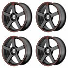 4x Motegi 16x7 MR116 Wheels Matte Black Red Stripe 5x45 5x112 5x1143 +40mm