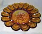Large Vintage Indiana Gold Carnival Glass Hobnail Relish Plate - EUC