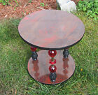 Funky Mod 60's 70's Side Table Stand Marbleized Wood Grain Formica Mid Century