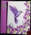 Papyrus Fancy Purple Hummingbird Flowers GLITTERED Small Blank Note Card NEW