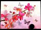PAPYRUS Butterflies Blossoms Flowers GLITTERED Blank Note Greeting Card NEW