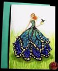 PAPYRUS BELLA PILAR Blue Dress Butterfly GLITTERED BLANK Small Note Card NEW