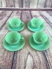 Set of 4 Fire King Jane Ray Oven Ware Jadeite Jadite Green Cups