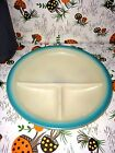 Vintage Fire King Child's Divided Plate Dish Bowl Turquoise Blue Rim