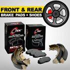 FRONT + REAR Disc Brake Pads + Shoes 2 Complete Sets Toyota Corolla Geo Prizm