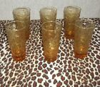 Vintage Anchor Hocking Lido Milano Amber 5  Glasses, Anchor Hocking barware set