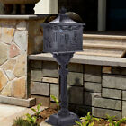 Courtyard Mailbox  Retro Cast AluminumWeather Resistant  With Lantern Post
