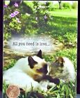 Sweet Cats Kittens Snuggling Grass All You Need Is Love Blank Card NEW