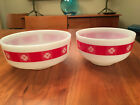 2 Federal Glass Mixing Bowls 3.5 and 2.5 qt  Red Band